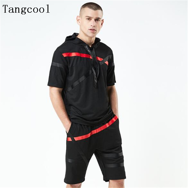 Tangcool 2018 Brand Tracksuit Mens Sets Sportsman Wear Two Piece Track Suit For Men Hooded Sweatshirt + Pants ...