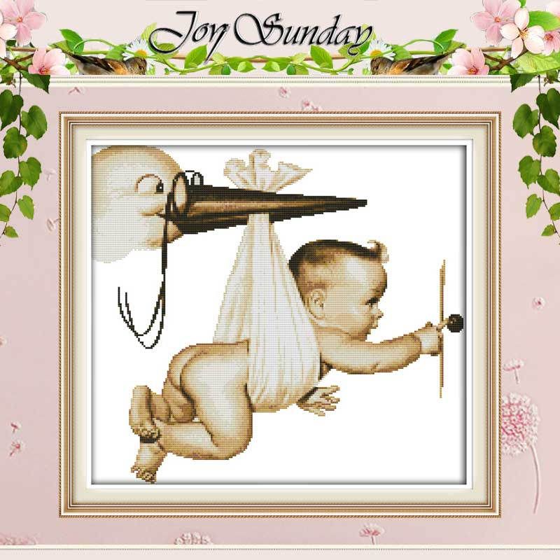 Flying Baby Patterns Crossed Cross Stitch 11CT 14CT Cross Stitch Set Borong Cina Cross-Stitch Kit Embroidery Needlework