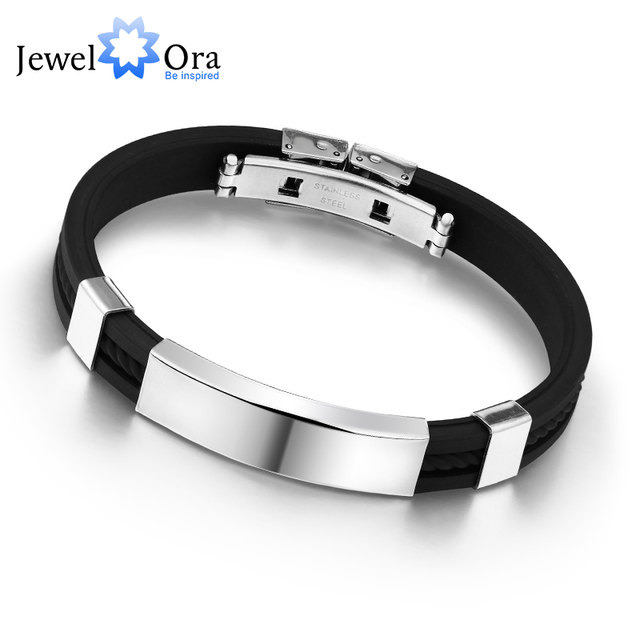bracelet steel mens bracelets tone stainless white two