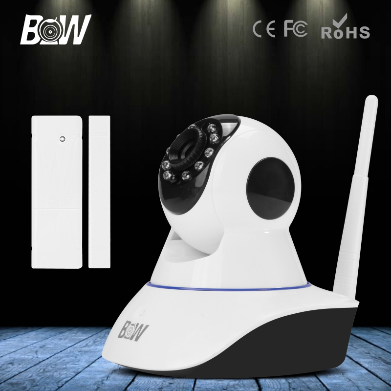 BW HD 720P IP Camera Smart P2P Surveillance Cam CCTV Home Security Phone App + Door Sensor WiFi Wireless Network Baby Monitor bw wireless wifi door