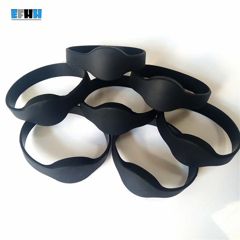 125KHZ EM4100 RFID Bracelet Silicone TK4100 Wristband Watch ID Card Read Only Access Control Card No Logo Black 100pcs tk4100 125khz rfid wristband bracelet silicone waterproof proximity smart card watch type for access control