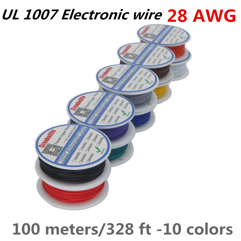 100m /lot UL 1007 <font><b>28AWG</b></font> 10 Colors Electrical Wire <font><b>Cable</b></font> Line Tinned Copper PCB Wire UL Certification Insulated LED <font><b>Cable</b></font> image
