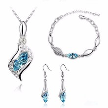 Top Quality Elegant luxury new fashion Silver plated colorful Austrian crystal Necklace Earrings Bracelet jewelry sets women