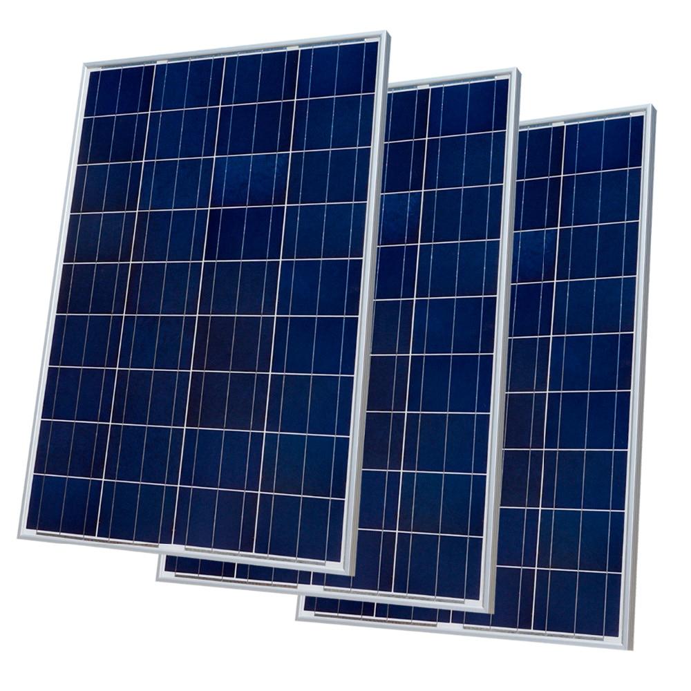 300 W Kit di Pannelli Solari: 3x100 W Poly Pannello Solare Avanzata RV Solare caricabatteria per 12 V batteria Off Grid Sistema Solare per casa