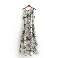Summer Sling Printed Beach Dress Women Sexy Casual Slash Neck Sleeveless Slim Lace up Female A Line Long Classic Dresses Women