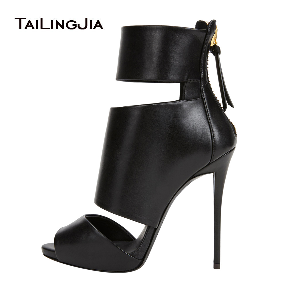 Black Peep Toe High Heel Platform Ankle Boots for Women Sexy Summer Booties with Zipper Dress Shoes Evening Heels Large Size