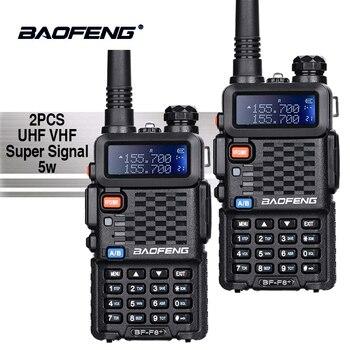 2 piezas Baofeng BF-F8 + UHF/VHF Walkie Talkie 10 km con PTT auricular portátil de mano Hotel CB Coche la estación de Radio de jamón transceptor HF