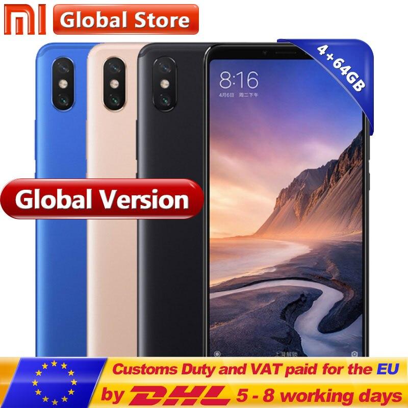 Globale Version Mi Max 3 64 gb ROM Handy 4 gb RAM Snapdragon 636 Volle Bildschirm B4 B20 5500 mah Octa Core 6,9''