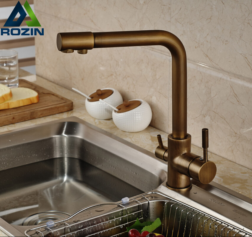 Luxury Antique Brass Kitchen Faucet Dual Handles Vessel Mixer Tap Pure Water Faucet luxury solid brass kitchen faucet dual spouts vessel sink mixer tap w 8 plate