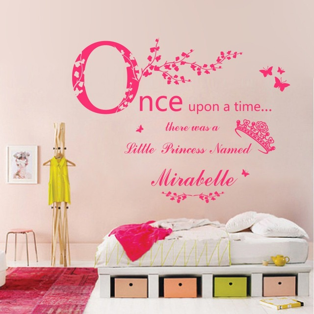 E103 Princess Crown Vine Butterfly Custom Name Wall Stickers Decal Girls  Kids Room Wall Personalized Name