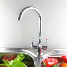 Сюэцинь chrome отделка кухонной мойки смесители 360 Поворотный Шея носик двойная ручка кран Медь + нержавеющая сталь Лидер продаж