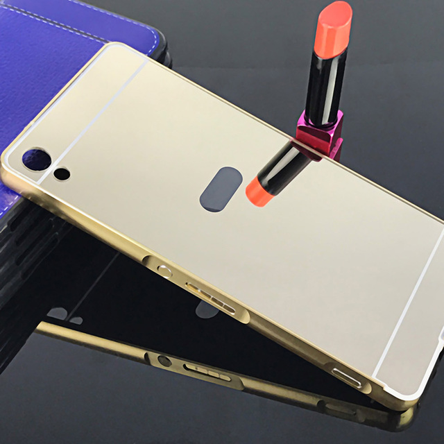 big sale 1b797 3e08a Gold Luxury Metal Frame Case Coque For Sony Xperia XA Ultra C6 Ultra F3212  F3216 Mirror Back Cover For Sony C6 Phone Cases+Gift-in Phone Bumper from  ...