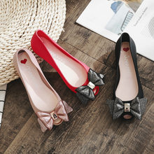 415eb15568a20 sweet glitter pink bow flat jelly shoes woman brand designer peep toe  fragrance summer shoes pvc