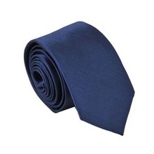 HOT SALE!Polyester Narrow Neck Tie Skinny Solid Dark Blue Thin Necktie for Men