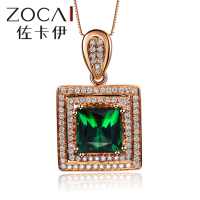 ZOCAI 2014 NEW ARRIVAL CHANSON SERIES 1.0 CT REAL GREEN TOURMALINE PURE 18K ROSE GOLD PENDANT WITH 0.20 CT 100% NATURAL DIAMOND