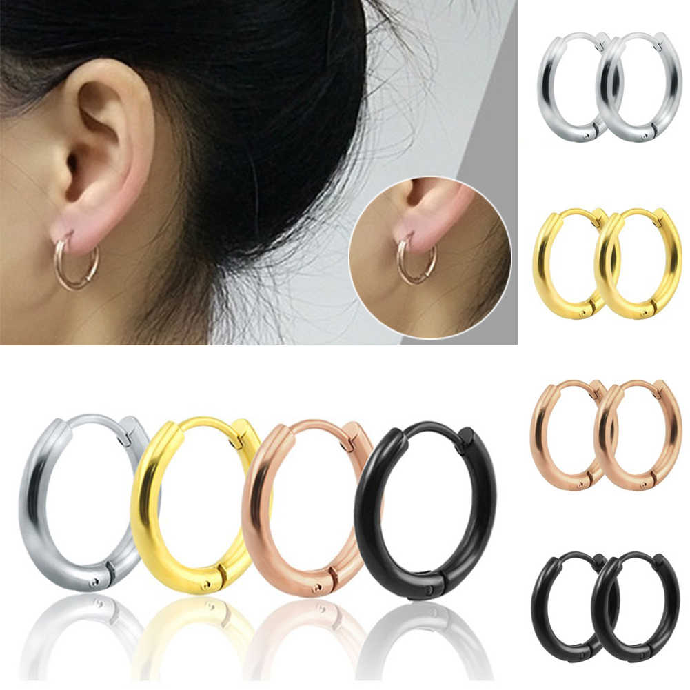 1pc Round Titanium Steel Earrings Women Man Unisex Earrings Jewelry Accessories Hip Hop Punk  Round Rings Earrings Gold Sliver