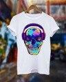 Moda Camiseta Blanca de verano Hombres Techno Music Rave Camisa Del Cráneo casa Dj Club de Baile Retro Amor Ácido Ibiza Poliéster Camisa Euro