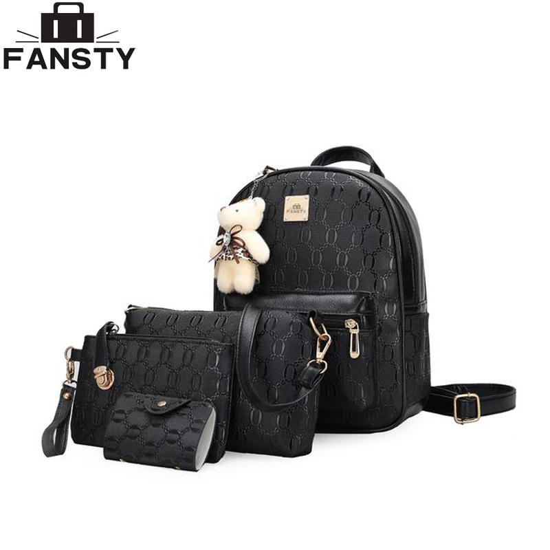 Fresh Women Backpack 2017 New Embossing Female Leather Shoulder Bag Four Pieces Set Students School Bag Summer Fashion Backpacks new arrival set of four rivet with embossing backpack female rivet woolly bear pendant with fashion backpacks b 40