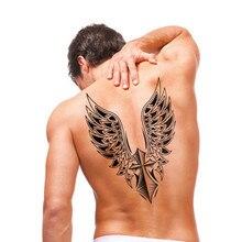 Waterproof Arm Back Cross Wing Beautiful Body Art Men Flash Metallic Temporary Tattoos Black Tattoo Sticker Big Size 30.5×21.5cm