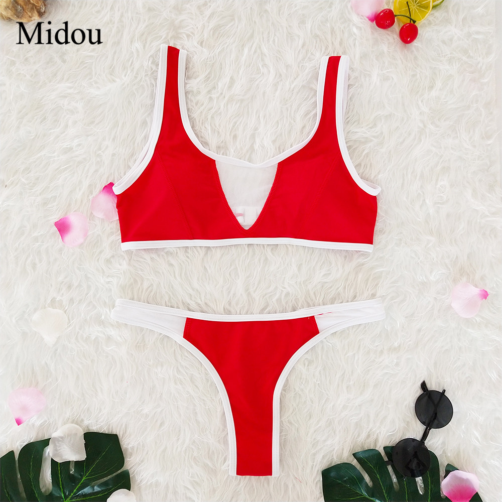 Midou <font><b>Sexy</b></font> Push Up <font><b>Bikini</b></font> Summer Women 2 Color Parchwork Swimsuits Female <font><b>Beachwear</b></font> Bathing Suits <font><b>Sexy</b></font> Perspective <font><b>Bikini</b></font> Set <font><b>XL</b></font> image