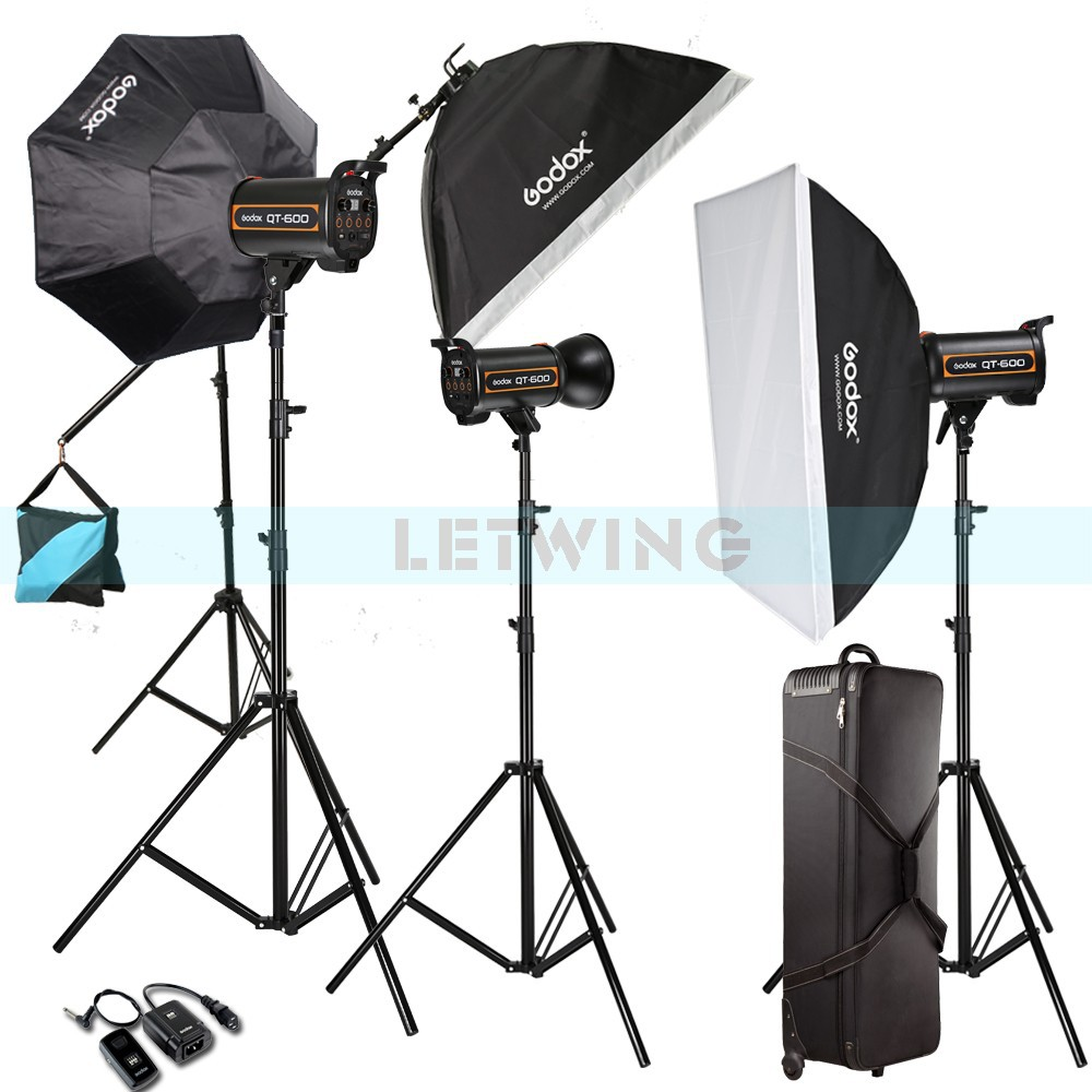 Godox 1800W 3X 600W High Speed Flash Light Studio Strobe lighting & Softbox & Light Stand Professional Photography Kit