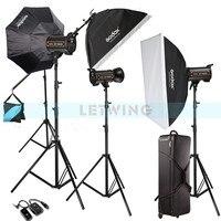 Godox 1800W 3X 600W High Speed Flash Light Studio Strobe lighting & Softbox & Light Stand Professional Photography Kit