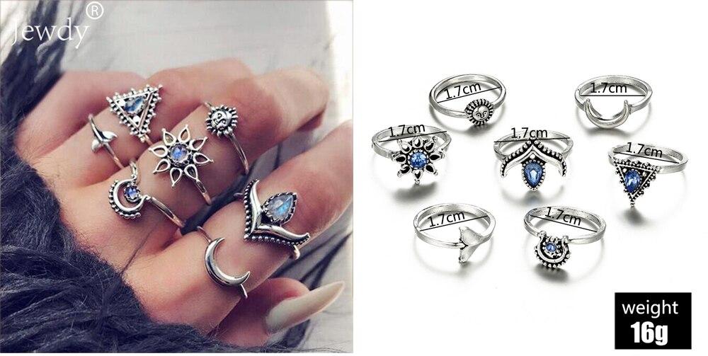 20 видов стилей Для женщин в богемном стиле винтажная корона цветок из складок сердце лотоса Star кристалл в форме листика опал кольцо с камнем вечерние украшения Серебряные кольца комплект