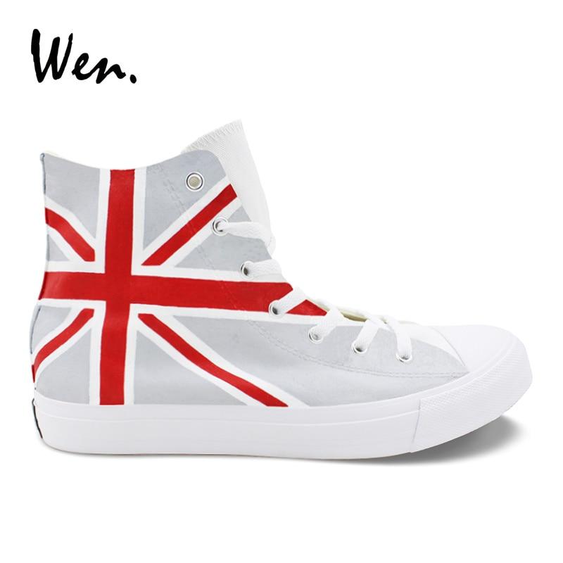 Wen Hand Painted Design Shoes Union Jack UK Flag Custom High Top Grey Blue Canvas Sneakers Men Women Rope Soled Plimsolls fashion union flag pattern 5cm width black tie for men