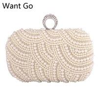 Want Go Luxury Women Hard Pearl Clutch Bag Fashion Lady Beaded Small Evening Bag Hot Sale
