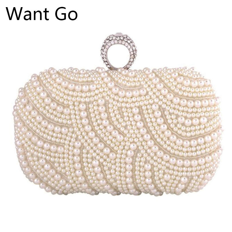 Want Go Luxury Women Hard Pearl Clutch Bag Fashion Lady Beaded Small Evening Bag Hot Sale Bride Wedding Party Mini Shoulder Bag casio casio mtp 1200a 2a