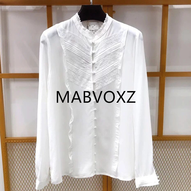 2019 New Women Lace Blouse Stand Collar Neck Long Sleeve Claire Shirt Top