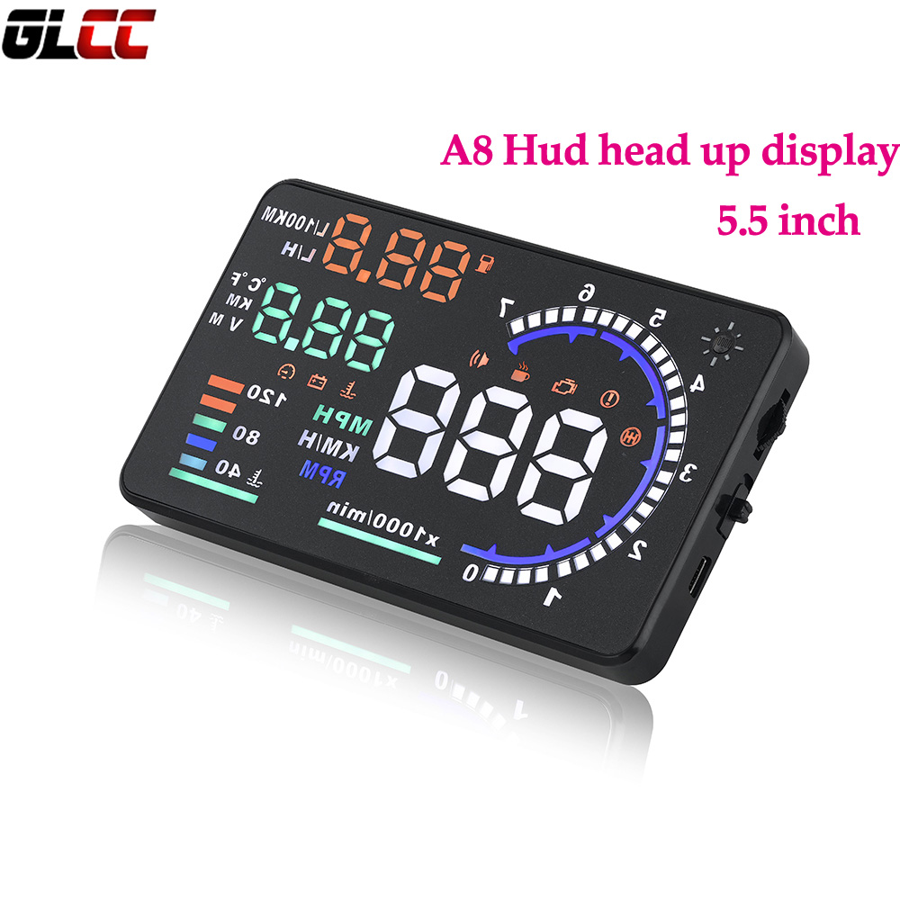A8 Hud head up display with OBD II 5.5 Inch Reflective Speed Fatigue RPM Warning MPH Fuel Consumption Windshield Projector