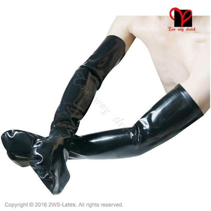 Sexy schwarzer Latex lange Handschuhe fingerlose Gummi - Bekleidungszubehör - Foto 5