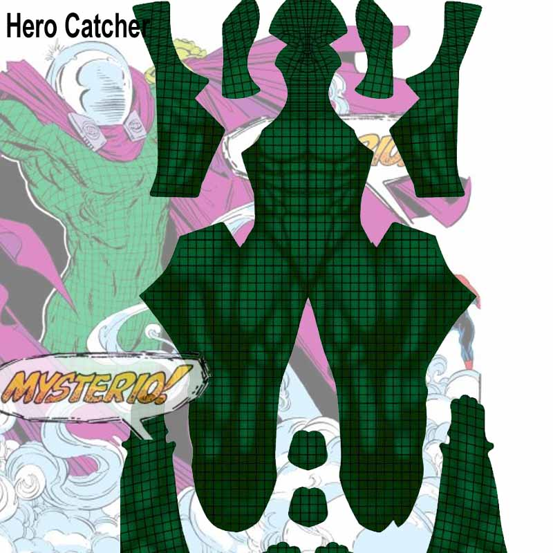 Hero Catcher Top Quality Comic Mysterio Cosplay Costume with Muscle Shade Lycra Mysterio Suit