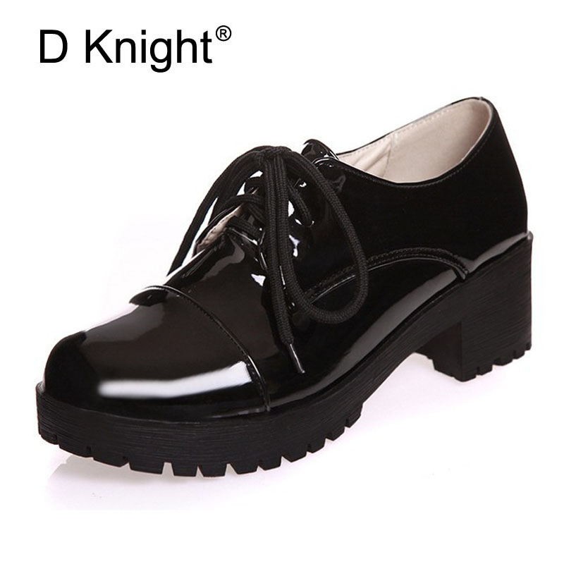 цены Patent Leather Oxfords Shoes Woman Vintage Creeper 2018 Platform Women Brogue Shoes Casual Oxford Shoes For Women Big Size 34-43