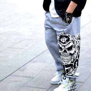 Image 3 - Men pants hip hop spring 2020 new autumn casual youth pants male skull print trousers teenager plus size black gray