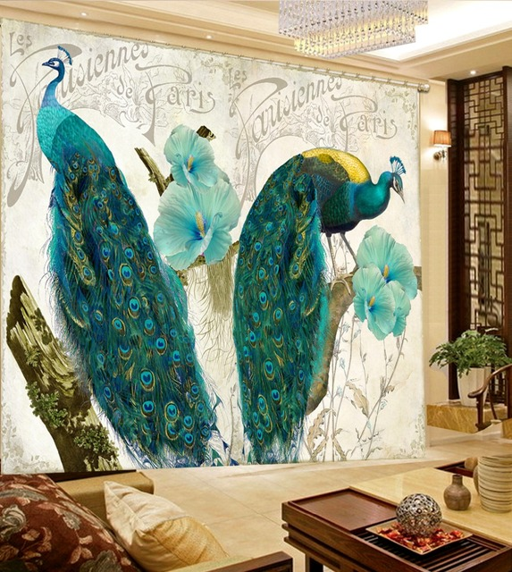 Superbe Custom 3d Modern Curtains 3d Kitchen Window Curtains Retro Peacock Figure  3d Curtains For Living Room