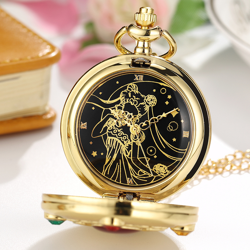 Vintage Japan Anime Sailor Moon Pocket Watch Pendant With Diamond Gold Fob Quartz Clock Chain Necklace Cute Gift For Women Girl