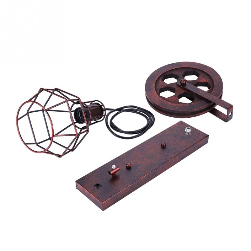 Antique Industrial E27 Wall Lamp Holder Iron Lifting Pulley Wall Mount Lamp Base Room Hallway Corridor Light Fixtures in Lamp Bases from Lights Lighting