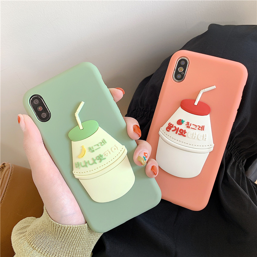Cute Case for iPhone XR XS MAX X 8 Plus 7 Luxury cartoon Phone Cover for iPhone 7 6 6S Plus case TPU Shell 3D Fruit milk bottle