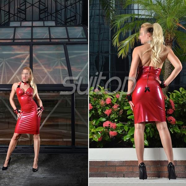 Buy Latex mini dress Rubber sheathy dresses Red color sexy club suit