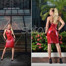 Latex mini dress Rubber sheathy dresses Red color sexy club suit