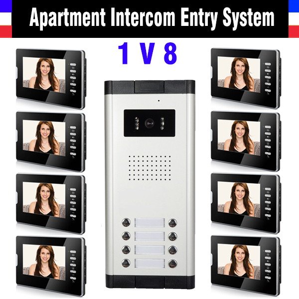 Apartment Intercom System 8 Units 7 Inch Monitor Video Intercom Doorbell Door Phone Systen Night Version Camera for 8 unit house apartment intercom system 7 inch monitor video door intercom doorbell kit 8 units apartment video door phone interphone system