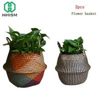 WHISM 2pcs Handmade Storage Basket Rattan Belly Laundry Basket Seagrass Clothes Organizer Wicker Baskets Garden Flower Pots