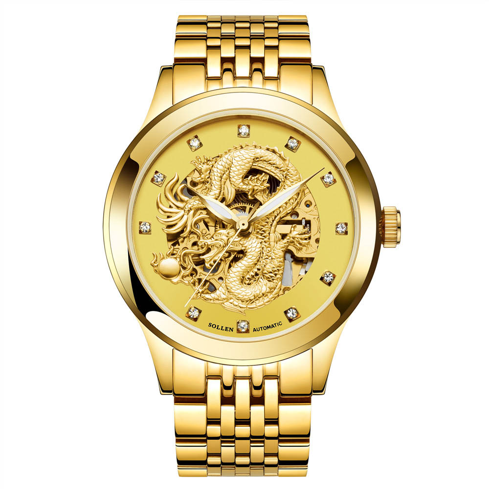 Dragon Skeleton Automatic Mechanical Watch For Men Wrist Watch Stainless Steel Strap Gold Clock Waterproof Luminous Mens Watch wholesale wilon mens stainless steel mechanical skeleton watch