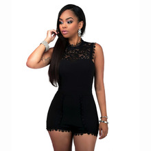 Echoine 3XL Plus Size Black Jumpsuit New Summer Lace Patchwork Shorts Rompers Women Sleeveless Hollow Out Back Zipper Overalls