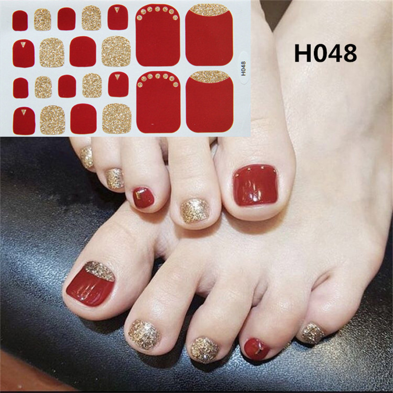 Image 4 - 22tips Korea Toe Nail Sticker Wraps Adhesive Decals Toenail Polish Strips DIY Pedicure Foot Decals Manicure Women-in Stickers & Decals from Beauty & Health