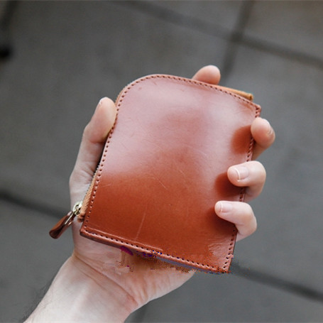 Handmade leather purse and wallet together DIY paper pattern drawings, CDD-24 minimalist short clip version