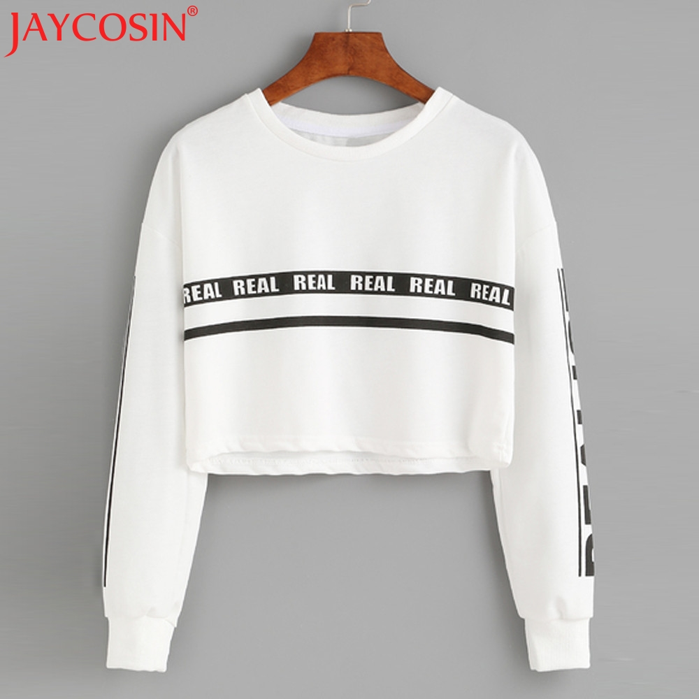 JAYCOSIN Sweatshirt Women 2017 Women Fashion White Letter Print Crop New Top Blusas Swea ...
