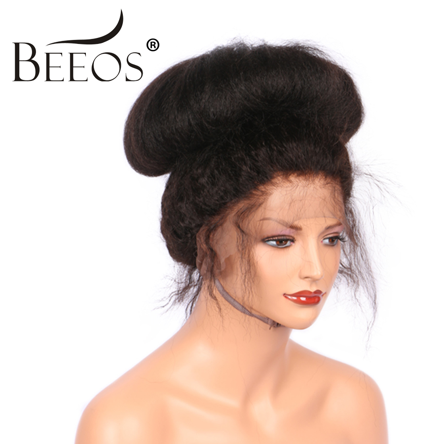 BEEOS 12-24″ 250 Density Peruvian Full Lace Wig Human Hair With Baby Hair Remy Kinky Straight Wig For Black Women Bleached Knots